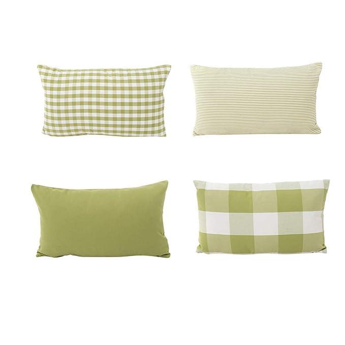 Fossrn 4pc/ Conjunto Funda Cojin 30 x 50 Moderno Cuadros Funda de almohada para Sofa Jardin Cama Decoracion