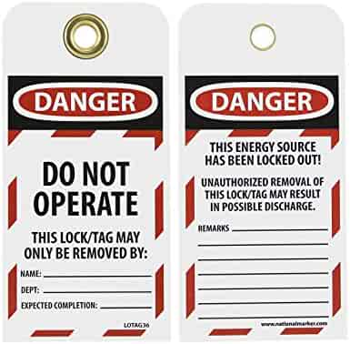LOTAG13-25 Danger Do Not Operate Equipment Tag-Out Tag National Marker Corp
