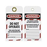 NMC LOTAG36-25 Lockout Tag,''DANGER - DO NOT OPERATE,'' 6'' Height x 3'' Width, Unrippable Vinyl, Red/Black on White (Pack of 25)