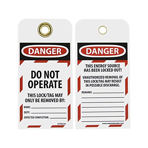 NMC LOTAG36-25 Lockout Tag,''DANGER - DO NOT OPERATE,'' 6'' Height x 3'' Width, Unrippable Vinyl, Red/Black on White (Pack of 25) by NMC