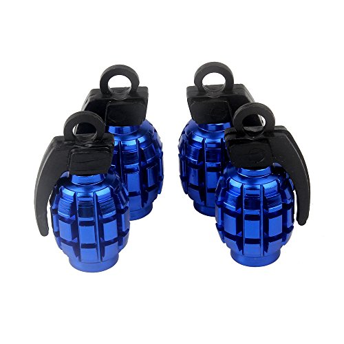 Senzeal 4X Aluminum Grenade Bomb Style Universal Car Truck Motocycle Wheel Tyre Valve Caps Bicycle Tire Air Valve Cover Blue ()