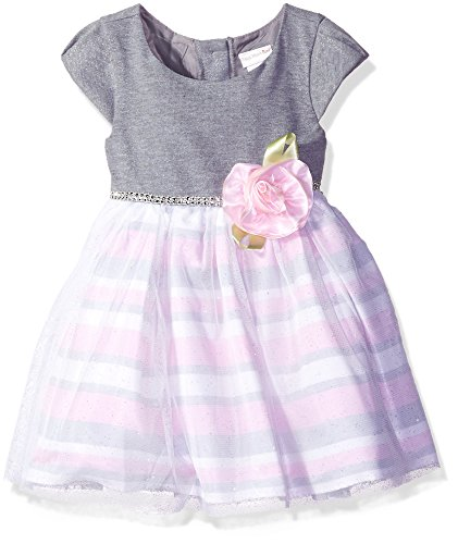 Rose Overlay Dress (Sweet Heart Rose Little Girls' Knit Bodice Special Occasion Dress With Stripe Skirt and Sparkle Overlay, Grey/Pink, 3)