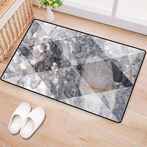 Marble,Bath Mat,Geometric Diamond Shaped Grunge Granite Rock Facet Forms Ceramic Abstract Print,Door Mat Indoors Bathroom Mats Non Slip,Light Grey 32