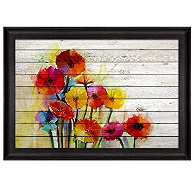 Bouquet of Colorful Watercolor Flowers Over White Wooden Panels Nature Framed Art, Professional Creation, Astonishing Technique