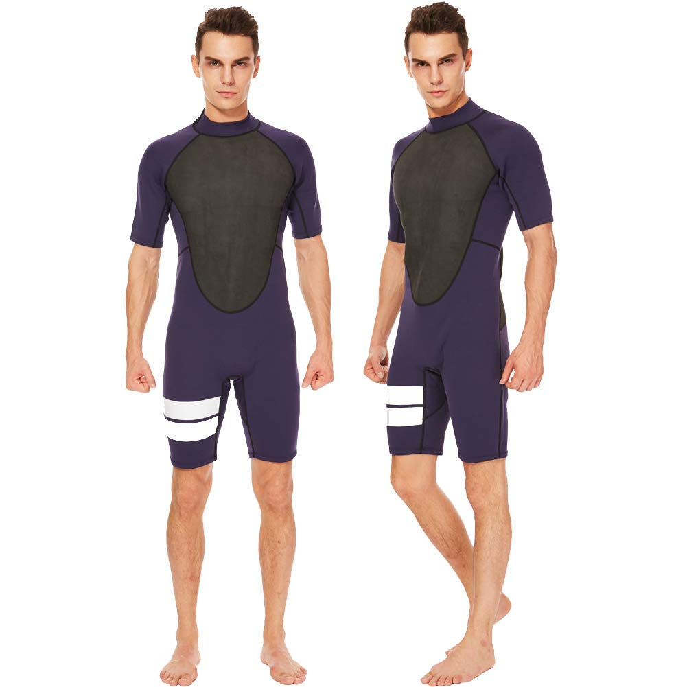 Realon Shorty Wetsuit Men 3mm Surfing Suit Diving Snorkeling Swimming Jumpsuit (2mm Shorty Navy, Large)