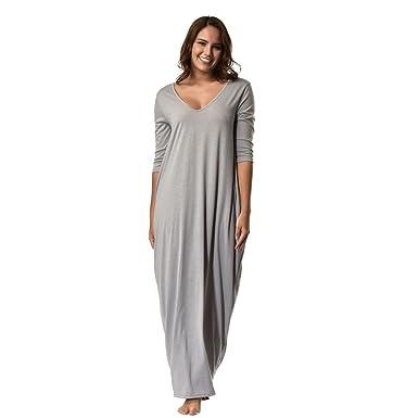 93763694ecd88e Kanpola Damen Nachthemden Kleid Lang Große Größen Locker Winter Worm  Baumwolle Bademäntel Morgenmäntel Elegant Schlafanzüge Nachtwäsche