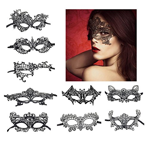 KissYan Sexy Lace Masquerade Mask For Women Party Mask, Set Of -