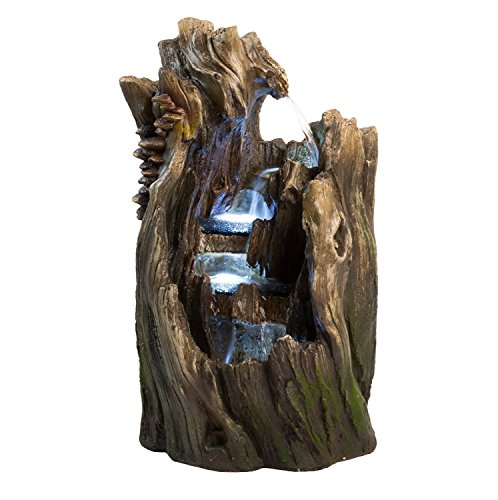 "22"" Walnut Log Indoor/Outdoor Garden Fountain: Tiered Outdoor Water Feature for Gardens & Patios. Original Hand-Crafted Design w/LED Lights. - ✔ DIMENSIONS: 22"" Tall x 13"" Wide x 13"" Deep - WEIGHT: 20lbs - COLOR: Wood (browns & greens) ✔ QUICK AND EASY out of the box set up - Perfect water feature for outdoor, gardens, backyards, decks, patios and porches. ✔ DURABLE light-weight cast polyresin and fiberglass water fountain - Hand finished by skilled artisans - patio, fountains, outdoor-decor - 51DcypfXCcL -"