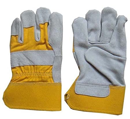 grey double palm leather rigger work gloves heavy duty safety gauntlets green