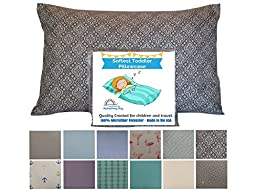Refreshing Day – Toddler Pillowcase. Gray and White. 13 x 18 to 14 x 19. CUDDLY, SUPER SOFT microfiber fabric that makes it easy to wash, durable, with no ironing needed. Top Travel Pillowcase