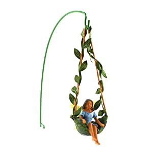 TG,LLC Ivy Vine Tree Swing Dark Hair Fairy Girl Mini Figurine Garden Decor Dollhouse Supply