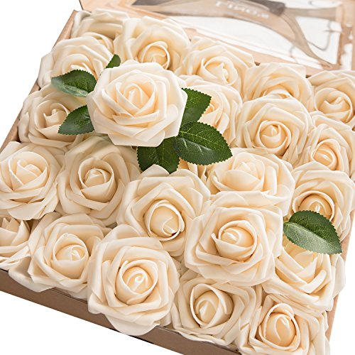 Ling's moment Artificial Flowers 50pcs Real Looking Cream Fake Roses w/Stem for DIY Wedding Bouquets Centerpieces Bridal Shower Party Home Decorations -