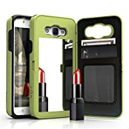 Samsung Galaxy J7 Case, [Vettore by Zizo] All-in-One Wallet Case with [Galaxy J7 Screen Protector] Built-In Mirror and [Kickstand] - Galaxy J7 J700