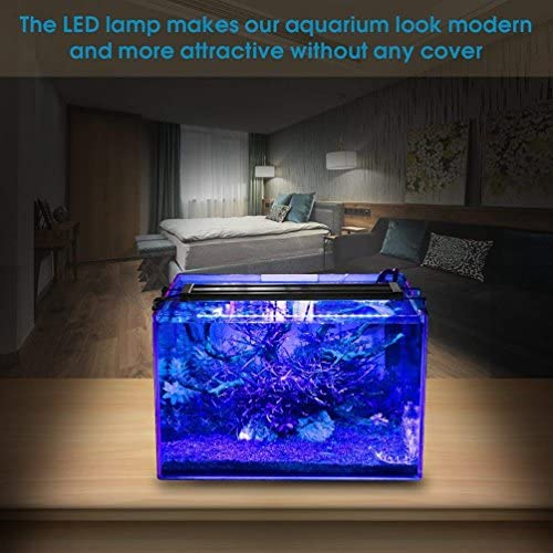 MAINLICHT Aquarium Light for 45-53 Fish Tank Bright Fish Plant Bracket Lighting with Blue and White LEDs 180 LEDs 116cm-136cm