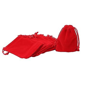red velvet pouches pack of  10 7 x 9 cm