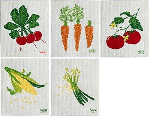 (Wet-It! Swedish Dishcloth Set (Vegetables, 5 Pack))
