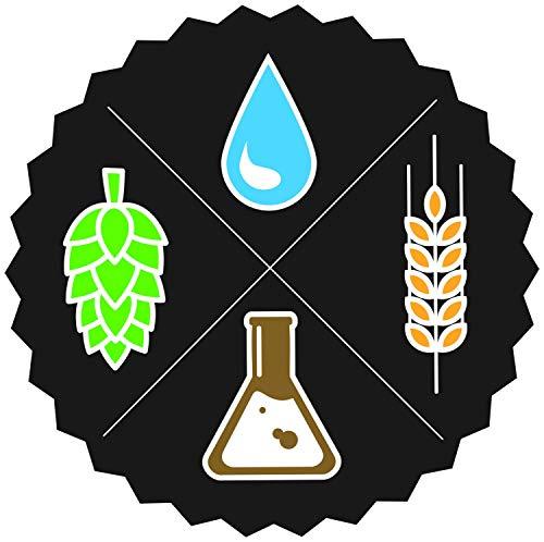 Beer Ingredients Water Hops Malt Yeast Vinyl Sticker 5 Inch, Indoor/Outdoor