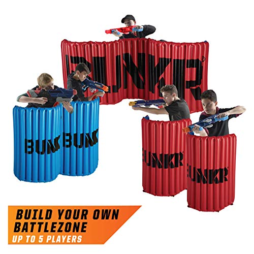 BUNKR Inflatable Battlezone Tournament Set (5 Piece), Red Blue. (Compatible with Nerf, Laser X, X-Shot and - Course Obstacle