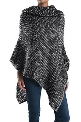 Basico Women's Long Knitted Fringe Trim Sweater Poncho Cape Shawl Wrap -One Size