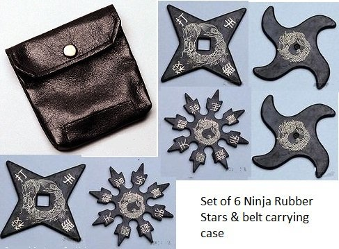 6 Ninja Rubber Throwing Stars with FREE carry case for your belt.