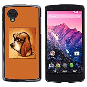 Be Good Phone Accessory // Dura Cáscara cubierta Protectora Caso Carcasa Funda de Protección para LG Google Nexus 5 D820 D821 // cute puppy dog dachshund brown sad
