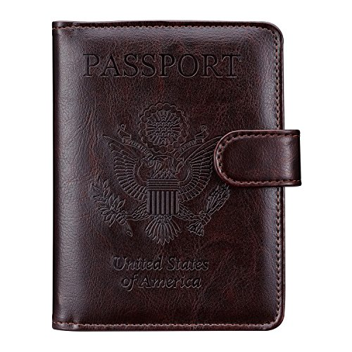 Passport Holder Travel Cover Case - HOTCOOL Leather RFID Blocking Wallet For Passport, Brown(Magnetic)