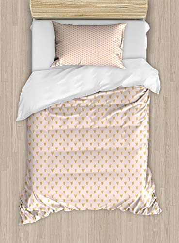 Ambesonne Hearts Duvet Cover Set Twin Size, Background with Abstract Dainty Passionate Love Theme Valentine, Decorative 2 Piece Bedding Set with 1 Pillow Sham, Pale Eggshell and Pale Coffee