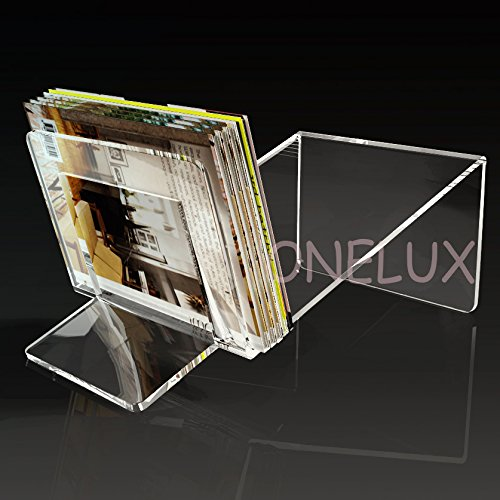 Lucite Acrylic magazine/ book /brochure Storage Organizer Rack - various colors (clear) by ONELUX (Image #2)