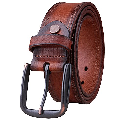 Capplue Casual Square Pin Buckle Mens Belts Full Grain Leather Belt Brown2 Belt 42inch (Casual Square Buckle)