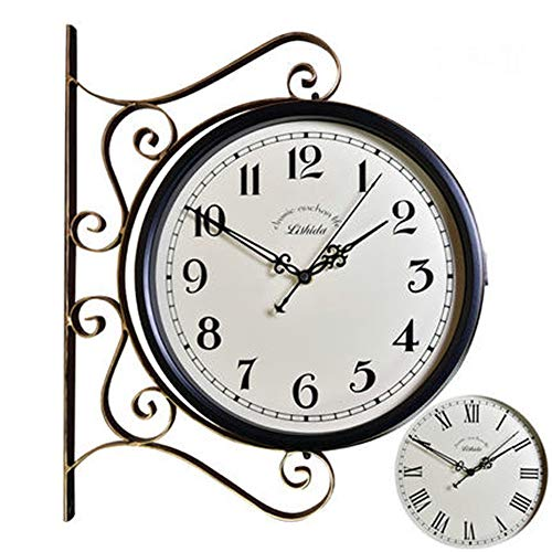 Indoor/Outdoor Wall Clock Vintage Double Sided Arabic Numerals Wall Clock 360 Degree Rotate Silent Quiet Double Faced Decorative Art Clock Contemporary Decor for Cafe Loft Hotel Office