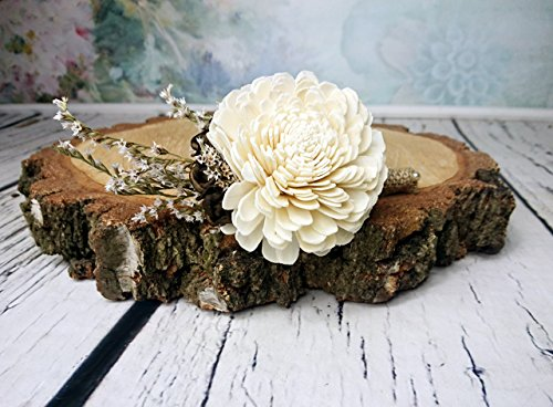 Ivory Brown Rustic Wedding Boutonniere Sola Flowers
