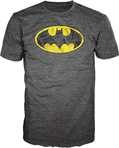 Batman+Shirts Products : Batman Brushed Logo Soft Mens Heather Grey T-Shirt