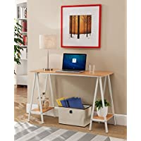 Kings Brand White With Natural Home & Office Desk / Table With Side Shelves