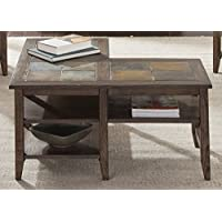 Liberty Furniture 107-OT1010 Brookstone Occasional L-Shaped Cocktail Table, Weathered Oak Finish with Wire Brush