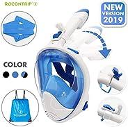 ROCONTRIP Snorkel Mask Full Face, Panoramic 180°View Design, Anti-Fogging Anti-Leak with Adjustable Head Strap