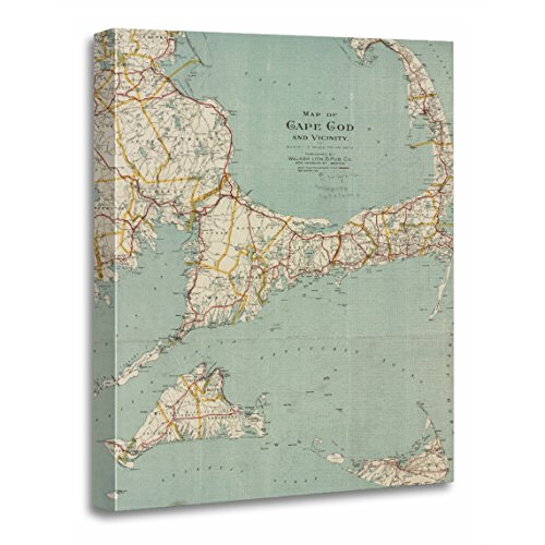 TORASS Canvas Wall Art Print Massachusetts Vintage Map of Cape Cod Old Artwork for Home Decor 24