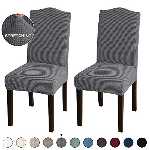 Turquoize 2 Pack Stretch Dining Room Chair Slipcovers Sets, Stretch Chair Furniture Protector Covers Removable Washable Elastic Bottom Chair Cover for Dining Room, Hotel, Ceremony Grey