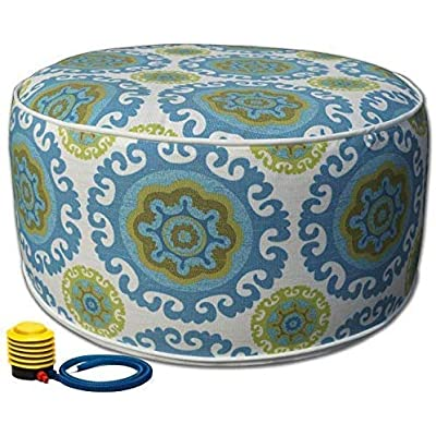 Kozyard Inflatable Stool Ottoman Used for Indoor or Outdoor, Kids or Adults, Camping or Home (Blue) : Garden & Outdoor