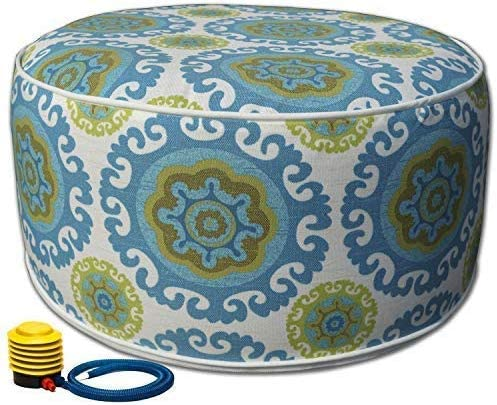 Kozyard Inflatable Stool Ottoman Used for Indoor or Outdoor, Kids or Adults, Camping or Home Blue