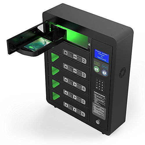 6 Bay Digital Pin Code Cell Phone Charging Locker by ChargeTech w/ 12 High Speed Cables for All Devices: iPhone, Samsung, Android - Includes Voice Assistance (Model: PPL6) by ChargeTech