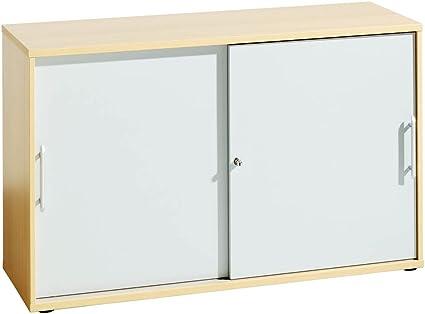 POV Hammerbacher - Armario con puertas correderas (1 estante), color plateado y haya: Amazon.es: Hogar