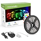 NOVOSTELLA Smart LED Strip Lights, 16.4ft RGB Wireless Flexible LED Night Light DC12V 5050 RGB 150LEDs, Non-Waterproof Lighting Strips with UL Listed Adapter, Working with Alexa and Google Assistant