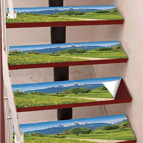 3D Print Non-Slip PVC Stair Pads,Self-Adhesive Steps Sticker,Staircase Treads Protector,Spring Scenery in Alps with Floral Grass and Snowy Mountain Tops in Rural Village Photo,for Home Decoration(9.8X