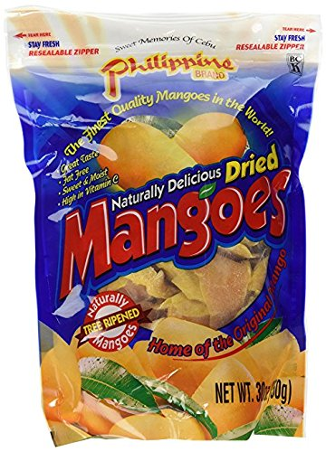 Philippine Brand Naturally Delicious Dried Mangoes Tree Ripened Value Bag 4Pack (30 Ounces) BDkrw by Philippine