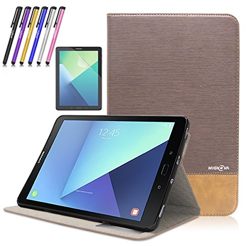 Mignova Samsung Galaxy Tab S3 9.7 case,Ultra-thin lightweight Smart Cover Case for Samsung Galaxy Tab S3 9.7-Inch Tablet w/ S Pen SM-T820 / T825 +Screen Protector Film and Stylus Pen (Dark Brown) by Mignova