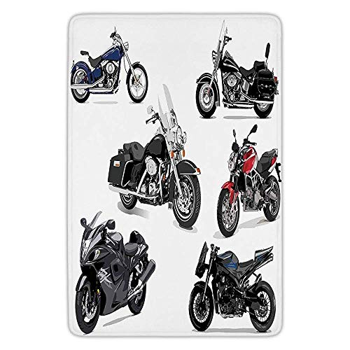 - Bathroom Bath Rug Kitchen Floor Mat Carpet,Motorcycle,Unique Original Motorcycles Set Freestyle Action Life with Winged Wheels Hobby Print,Multi,Flannel Microfiber Non-Slip Soft Absorbent