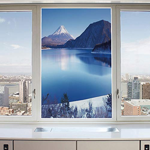 (3D Decorative Privacy Window Films,Fuji Mountain in Winter Season Snowy Hills and Mountain Top Japan Photography Print,No-Glue Self Static Cling Glass film for Home Bedroom Bathroom Kitchen Office 17.)