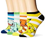 BIOWORLD Pokémon Pikachu/Squirtle/Charmander/Bulbasaur Ankle Socks (4 Pack)
