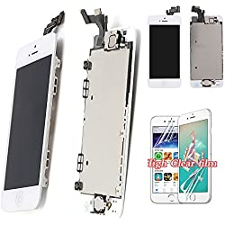For iPhone 5 Screen Replacement LCD - New Display With Home Button Front Camera Speaker Proximity Sensor Full Digitizer Touch Assembly + Free Screen Protector + Tools (White Color)