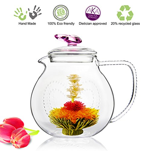 Glass Teapot No Drip Special Lead Free Glass (34 oz Pink Love)